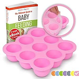 KIDDO FEEDO Multiportion Baby Freezer Storage - FDA Approved Silicone Freezer Tray Container with Clip-on Lid - BPA Free - 9x2.6oz portions - FREE eBook by Author/Dietitian - Pink