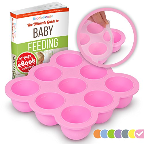Multiportion Freezer Tray - KIDDO FEEDO Multiportion Baby Freezer Storage - FDA Approved Silicone Freezer Tray Container with Clip-on Lid - BPA Free - 9x2.5oz portions - Free eBook by Author/Dietitian - Pink