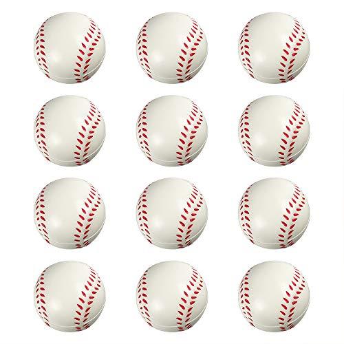- ROOTLISA 12 Pack Foam Mini Sports Balls Stress Balls for Kids Party Favor Toy (Baseball)