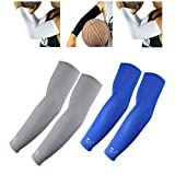 The Elixir Scorpion Sports Compression Arm Sleeves Youth Kids Size - Baseball Basketball Football Running - UV Sun Protection Cooling Base Layer, 2 Pairs - Gray, Blue