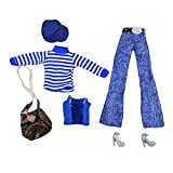 6 Pieces Doll Clothes Doll Casual Clothing with Cap, Shoes and Coat Set