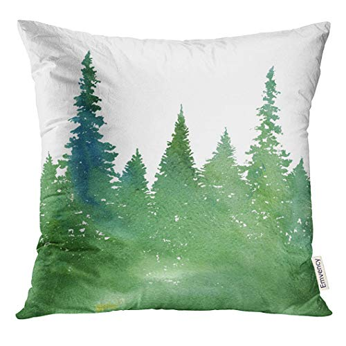 UPOOS Throw Pillow Cover Green Pine Watercolor Landscape with Fir Trees and Grass Abstract Nature Coniferous Forest Garden Decorative Pillow Case Home Decor Square 20x20 Inches - Pine Green Color