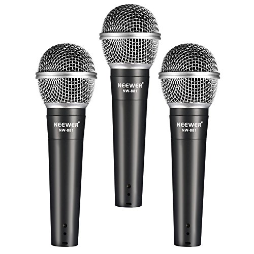 Neewer Dynamic Vocal Recording Microphone Set: (3)NW-881 Vocal / Recording Microphones + (3)Microphone Clips + (3)5/8-Inch Male to 3/8-Inch Female Mic Screw Adapters + (1)Foamed Carrying (Mic Set)