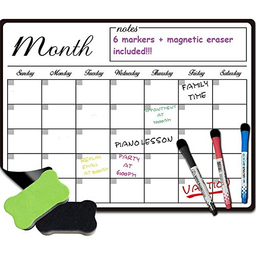 (Dry Erase Monthly Calendar Set-Large Magnetic White Board Organizer for Kitchen Refrigerator-Best for Smart Planners)