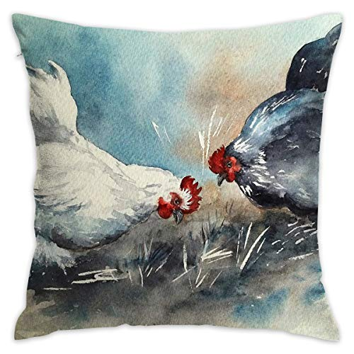 - Reteone Cute Chicken Artwork Painting Pillowcase Covers - Zippered Pillow Case Cover, Pillow Protector, Best Throw Pillow Cover - Standard Size 18x18 Inch, Double-Sided Print Pillowcases