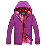 chusanhi Windproof Snow Ski Jacket for Women Insulated Winter Hooded Breathable Outdoor Hiking Coat Waterproof Skiing Jackets Water Resistant Mountain Outwear Purle Large