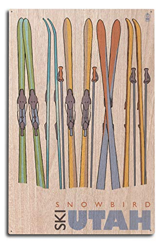 (Lantern Press Skis in Snow - Snowbird, Utah (10x15 Wood Wall Sign, Wall Decor Ready to Hang))