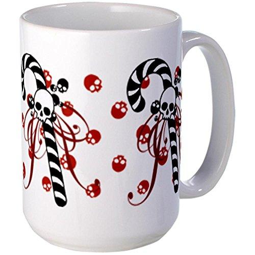 CafePress Unique Decorative Cushion Skull Candy Cane Large Mug Large Mug -