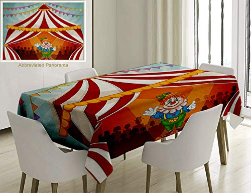 Unique Custom Cotton And Linen Blend Tablecloth Circus Decor Collection Cartoon Clown In Circus Tent Cheerful Costume Funny Entertainer JoyfTablecovers For Rectangle Tables, Small Size 48 x 24 -