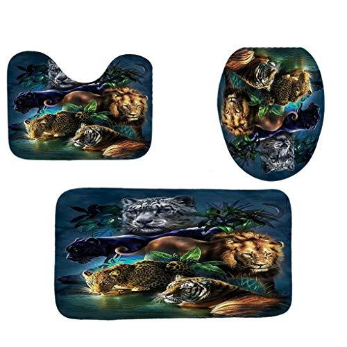 (Toilet mats Set Fiaya 3Pcs /4PCS Animal Multicolor Polyester Bathroom Set Rug Contour Mat+Toilet Lid Cover +Plan Solid Color Bath Mats +Shower Curtain (3PCS, Brown Tiger))