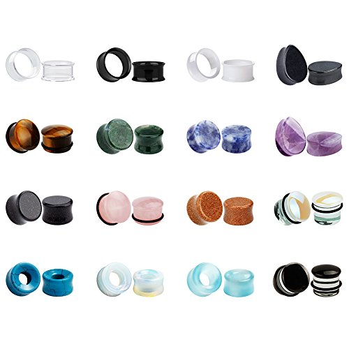 KUBOOZ 32pcs Set Mixed Stone Acrylic Glass Ear Plugs Tunnels Gauges Stretcher Piercings 1/2