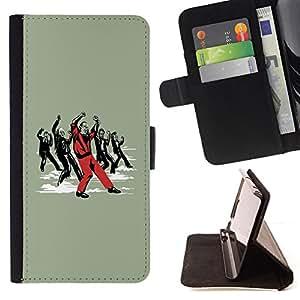 BullDog Case - FOR/Apple Iphone 4 / 4S / - / cool funny dance Michael zombie /- Monedero de cuero de la PU Llevar cubierta de la caja con el ID Credit Card Slots Flip funda de cuer