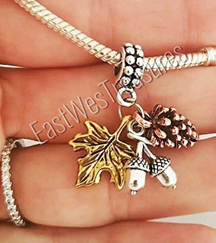 EWT Autumn Fall leaves Maple Leaf Pine cone Nuts Acorn Thanksgiving charms Pendant-for bracelet necklace