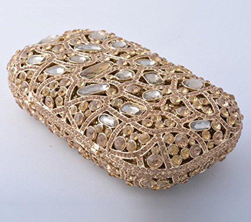XYXM Señora embrague de lujo de mano llena bolso de mano de metal hecho a mano cristal bolsa de vestir paquete de noche , color Gold