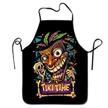 Women's Apron - Tiki Man Kitchen And Cooking Apron, Durable Stripe For Cooking, Grill And Baking