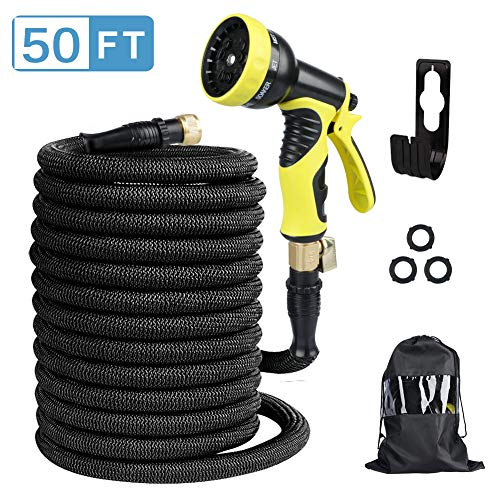 Page Hodge Expandable Garden Hose, 50ft Flexible Water Hose with Advanced Leak-Proof Self-Locking Connection & 9 Patterns Spray Nozzle, Heavy Duty Outdoor Expanding Garden Hose for Watering/Washing