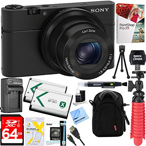 Sony Cyber-Shot DSC-RX100 Digital Camera + 64GB SDXC Memory Dual Battery Kit + Accessory Bundle