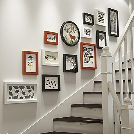 HJKY Foto marco de la pared SetSolid madera foto de la pared escalera de la escalera