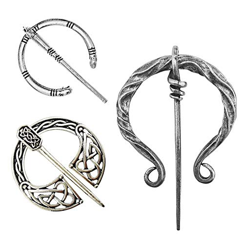 - Idealcoldbrew 3 Pack Vintage Viking Brooches Pins, Women Girls Scarf Cloak Shawl Buckle Clasp Pin Brooch, Decorative Clothes Costume Accessories Fashion Jewelry for Valentine's Day, Antique Silver