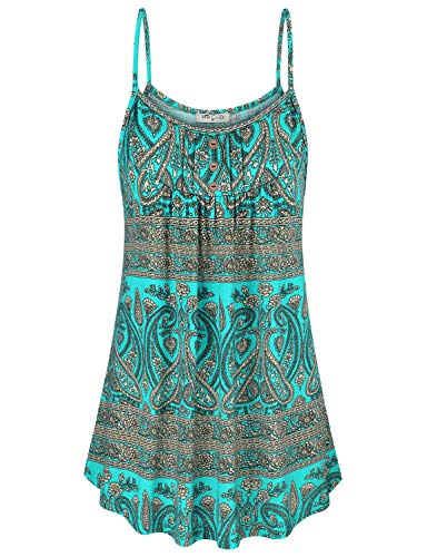SeSe Code Cami Tank Tops for Women,Pattern Spaghetti Strappy Flowy Hem Tank Top Ladies Blouse Loose Fitted Camisole Blouse Spring Cool Dark Cyan Medium - Spaghetti Fitted Ladies