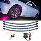 LEDGlow 4pc Pink LED Wheel Well Fender Light Kit - Flexible Waterproof Tubes - Includes Wireless Remote