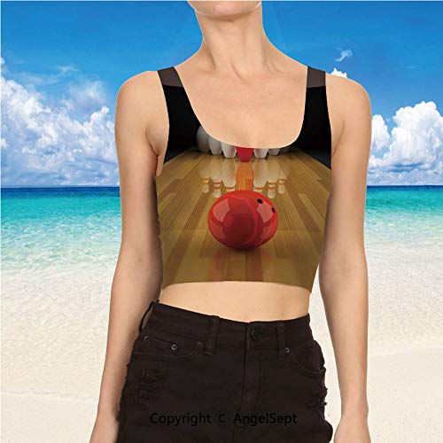 Tank Tops for Women, Clothes L,Light Brown Red White Alley with Red Skittle]()