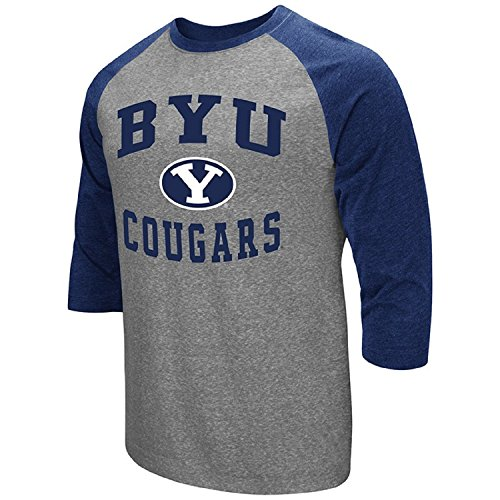 Byu T-shirts - Colosseum Men's NCAA-Raglan-3/4 Sleeve-Heathered-Baseball T-Shirt-BYU Cougars-XXL