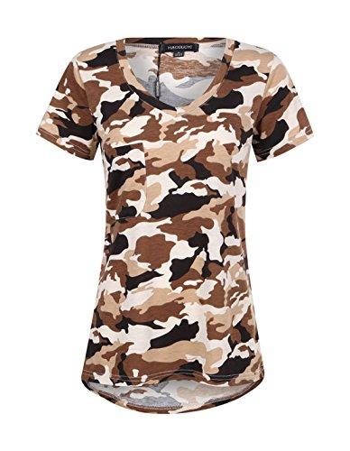 (hodoyi Women Boyfriend V-neck Short Sleeves Camouflage Camo T-shirts Tops Tees(S,Desert Camo))