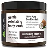 "ASUTRA Organic Exfoliating Body Scrub -""REVITALIZING COCONUT"" - 100% Pure Dead Sea Salt Scrub/Ultra Hydrating & Moisturizing with SKIN SMOOTHING Jojoba, Sweet Almond & Argan Oils - 12oz…"