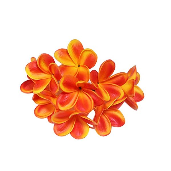 Bunch of 10 PU Real Touch Lifelike Artificial Plumeria Frangipani Flower Bouquets Wedding Home Party Decoration (Orange)