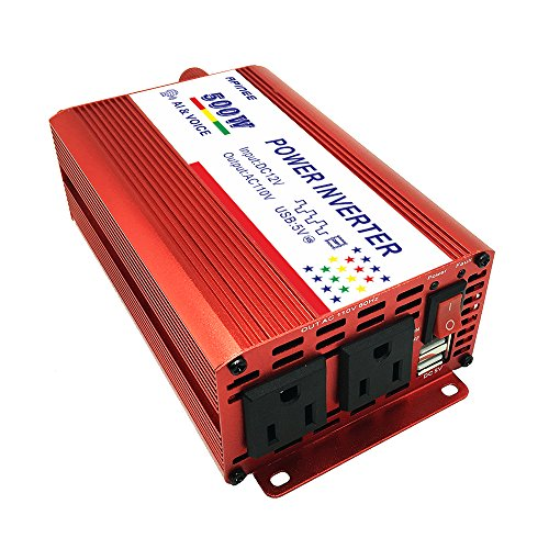 (APINEE 500W Car Power Inverter DC 12V to AC 110V with 4.2A Dual USB Port, Car Adapter for Laptop, Phone, iPad, Tablet, Camera,etc)