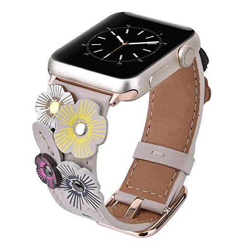 (V-MORO Flowers Leather Bands Compatible with Apple Watch Bands 42mm 44mm Series 4/3/2/1 Women with Stainless Steel Buckle Rose Gold, iWatch Replacement Bands Strap Wristbands (Ivory White, 42mm/44mm) )