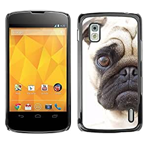 PC/Aluminum Funda Carcasa protectora para LG Google Nexus 4 E960 Pug Sad Face Eye Shorthair Muzzle Dog / JUSTGO PHONE PROTECTOR