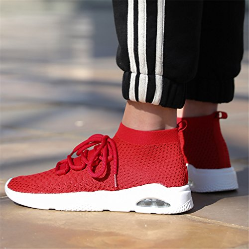 Shoes Men Sport Shoes Knit Breathable Red High for Running Gym Shoes Top Casual dOxqnEdF