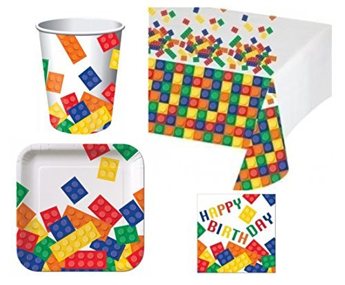 BirthdayExpress Building Blocks Deluxe Party Pack Kit for -