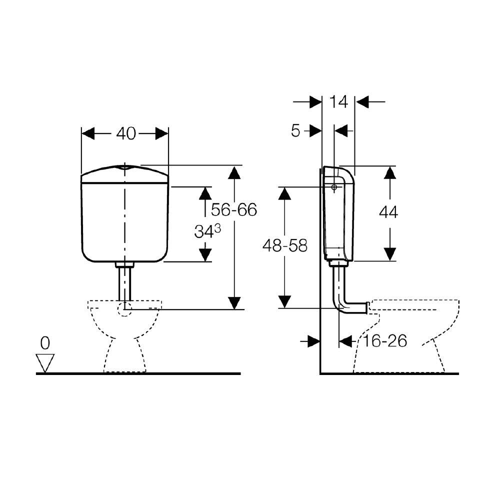 Geberit SCACAS0011CA AP117 Water Closet with Double Button by Geberit