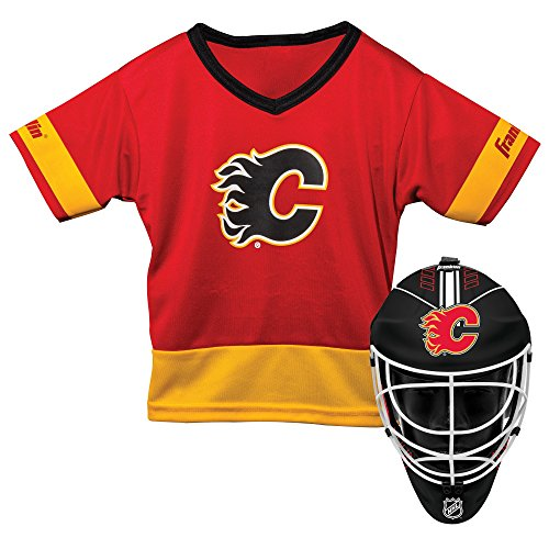 Franklin Sports Calgary Flames Kid's Hockey Costume Set - Youth Jersey & Goalie Mask - Halloween Fan Outfit - NHL Official Licensed Product]()