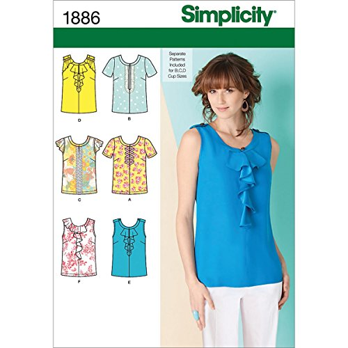 Simplicity 1886 Misses Tops Sewing Pattern, Size H5 (6-8-10-12-14)