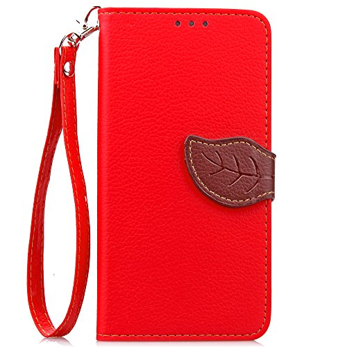 IKASEFU Wallet Case Compatible with Samsung Galaxy S7,Creative Leaf Pattern Pu Leather Magnetic Flip Case with Strap Compatible with Samsung Galaxy S7-Red