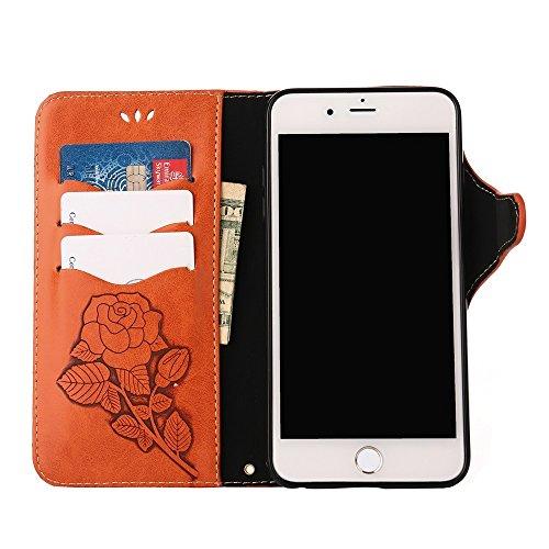 YHUISEN iPhone 6 Plus / 6S Plus, de lujo retro rosa Premium PU cuero cierre magnético Flip Cartera de protección con el cordón para el iPhone 6 Plus / iPhone 6S Plus ( Color : Blue ) naranja