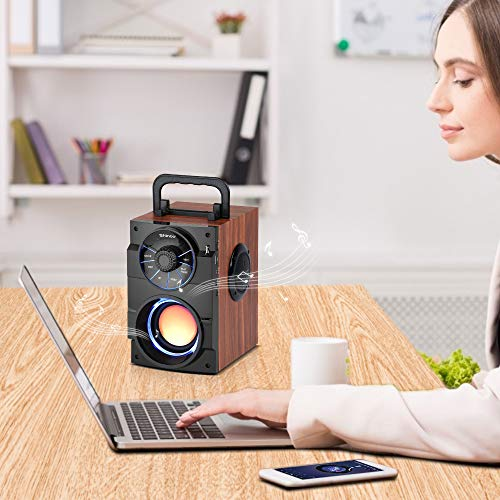 Shinco Portable Bluetooth Speaker with Subwoofer, Loud Rich Bass, Stereo Sound, FM Radio, AUX, USB TF Card, MP3 Player, Remote Control, LED Light, Great for Home Outdoor Travel