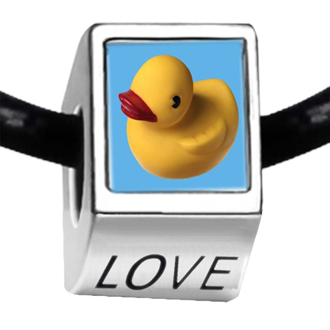 GiftJewelryShop Silver Plated Yellow Rubber Duck Photo Love Charm Bead Bracelets European Bracelets