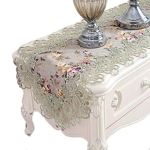 - KEPSWET Lace Embroidery Floral Pattern Table Runner, 16 x 48 inch, Green Party Banquet Holidays Wedding Doily, Coffee Tea Dining TV Dresser Home Decorations (16 x 48 inch, Green)