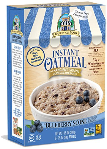 Bakery On Main Gluten-Free, Non-GMO Ancient Grains Instant Oatmeal, Blueberry Scone, 10.5 Ounce/6 Count Box (Pack of 3) - Gluten Free Scone