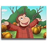 Curious-george-wallpaper Wall Art Pictures Frameless Decorative Oil Paintings For Kitchen Living Room Bedroom Decoration