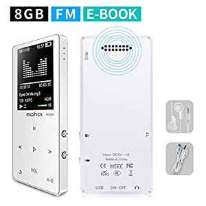 MYMAHDI MP3/MP4 Music Player, 8GB Portable Audio Player with Photo Viewer, Voice Recorder, FM Radio, A-B Playback, E-book, Metal body, Build-in Speaker with Headphone(Expandable Up to 128GB), in White