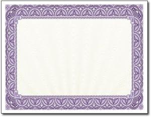 purple certificate template - 28lb purple border certificates 100