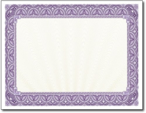 28lb Purple Border Certificates 100