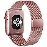 Apple Watch Band, Milanese Loop Mesh Smooth Stainless Steel Stronger Magnetic Closure Replacement iwatch Band for Apple Watch Edition Series 3/2/1 2017 Release (38mm rose gold)