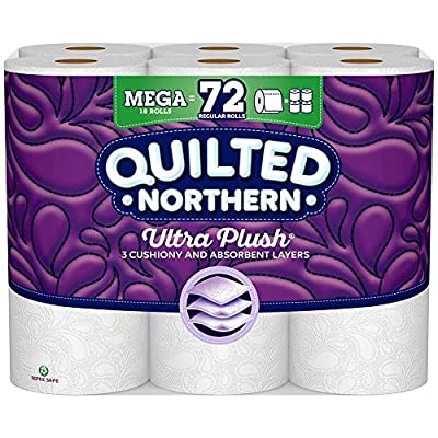 Quilted Northern Ultra Plush Toilet Paper, White Bath Tissue, 18 Count